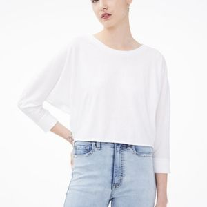 NWT Aéropostale Cropped Dolman Crew Tee in Cream